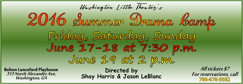 Youth Summer Drama Camp, June 2016